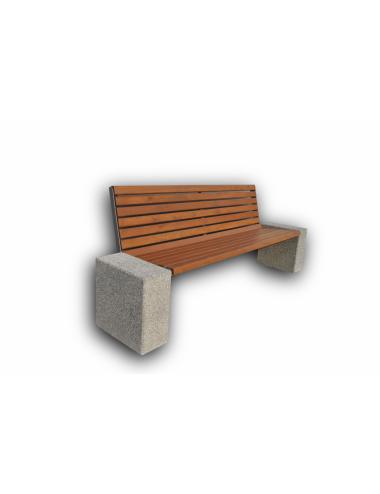 Ławka betonowa drewniana z...
